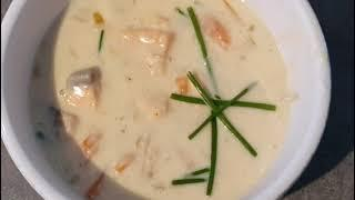 Creamed fish soup with salmon and cod!